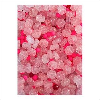 Микс прессованных бусин (розовый, красныый)
