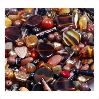 Микс прессованных бусин (коричневый)