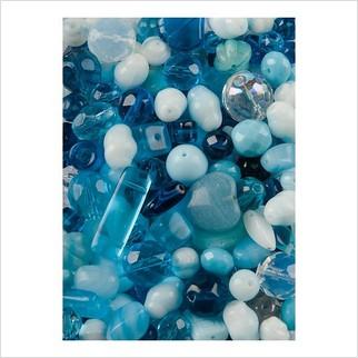 Микс прессованных бусин (голубой)