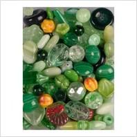 Микс прессованных бусин (зеленый)
