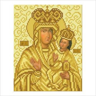 """Ткань со схемой для вышивания бисером """"Богородица"""""""
