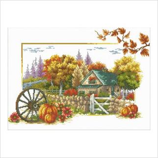 """Ткань со схемой для вышивания бисером """"Осенний пейзаж"""""""