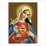 """Ткань со схемой для вышивания бисером """"Непорочное сердце Марии"""""""
