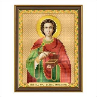 """Ткань со схемой для вышивания бисером """"Св. Вмч. Целитель Пантелеимон"""""""
