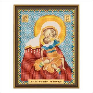 """Ткань со схемой для вышивания бисером """"Богородица «Взыграние младенца»"""""""