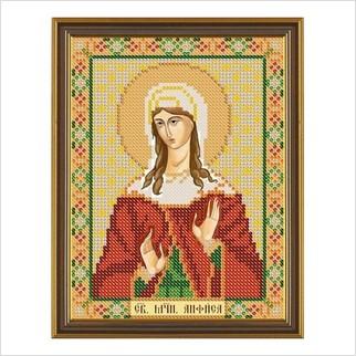"""Ткань со схемой для вышивания бисером """"Св. Мц. Анфиса Римская"""""""