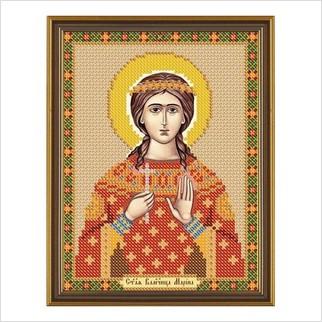 """Ткань со схемой для вышивания бисером """"Св. Вмц. Марина (Маргарита) Антиохийская"""""""