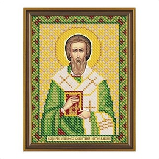 """Ткань со схемой для вышивания бисером """"Сщмч. Епископ Валентин Интерамский"""""""