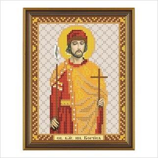 """Ткань со схемой для вышивания бисером """"Св. Блгв. Князь-страстотерпец Борис"""""""