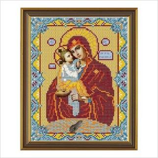 """Ткань со схемой для вышивания бисером """"Богородица Почаевская"""""""
