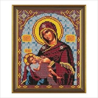 """Ткань со схемой для вышивания бисером """"Богородица «Млекопитательница»"""""""
