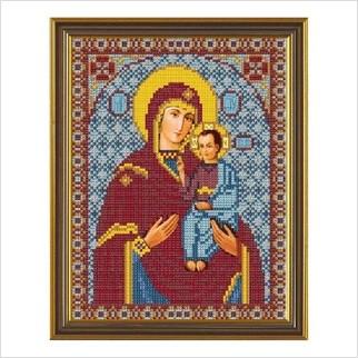 """Ткань со схемой для вышивания бисером """"Богородица Озерянская"""""""
