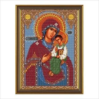 """Ткань со схемой для вышивания бисером """"Богородица Песчанская"""""""