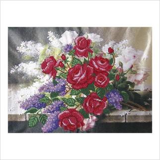 Розы и сирень - Т-0187 - ВДВ - Схема для вышивки бисером - Цветы
