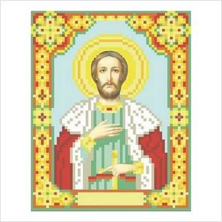 """Ткань с печатью для вышивки бисером иконы """"Святой князь Александр"""""""