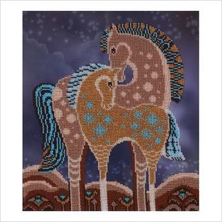 """Ткань с печатью для вышивки бисером """"Сказочные лошади"""""""