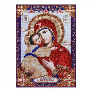 """Ткань с печатью для вышивки бисером иконы """"Богородица Владимирская"""""""