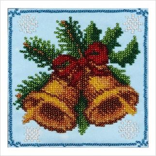 """Ткань с печатью для вышивки бисером """"Новогодние колокольчики"""""""
