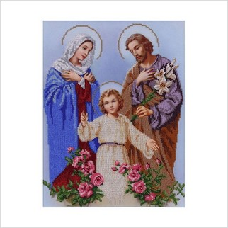 """Ткань с печатью для вышивки бисером иконы """"Святое семейство"""""""