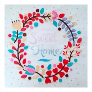"""Ткань с печатью для вышивки мулине ''Милый дом"""""""