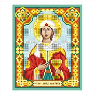 """Ткань с печатью для вышивки бисером иконы """"Святая мученица Варвара"""""""