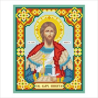"""Ткань с печатью для вышивки бисером иконы """"Святой мученик Никита"""""""