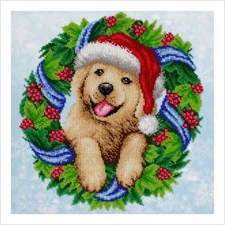 """Ткань с печатью для вышивки бисером """"Веселых новогодних праздников!"""""""