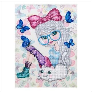 """Ткань с печатью для вышивки бисером """"Маленькая мечтательница"""""""