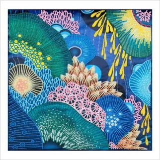 """Ткань с печатью для вышивки бисером """"Фантазия моря"""""""