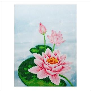 """Ткань с печатью для вышивки бисером """"Водяная лилия, триптих, ч.1"""""""