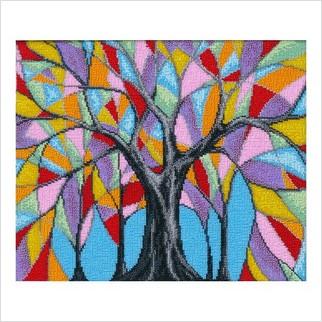 """Ткань с печатью для вышивки бисером """"Сказочное дерево"""""""