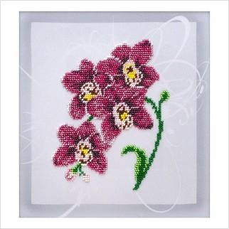 """Ткань с печатью для вышивки бисером """"Орхидея"""""""