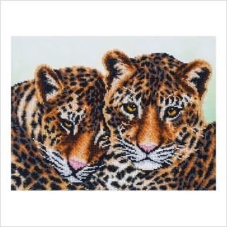 """Ткань с печатью для вышивки бисером """"Леопарды"""""""