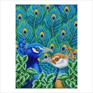 """Ткань с печатью для вышивки бисером """"Яркие птицы"""""""