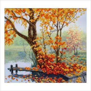 """Ткань с печатью для вышивки бисером """"Осенний уют"""""""