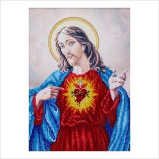 """Ткань с печатью для вышивки бисером """"Священное Сердце Иисуса"""""""