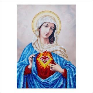"""Ткань с печатью для вышивки бисером """"Священное Сердце Марии"""""""