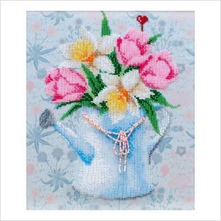 """Ткань с печатью для вышивки бисером """"Утро в саду"""""""