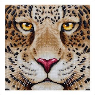 """Ткань с печатью для вышивки бисером """"Леопард"""""""