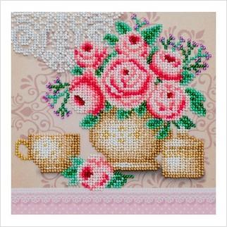 Фарфор с розами - Т-1227 - ВДВ - Схема для вышивки бисером - Натюрморты