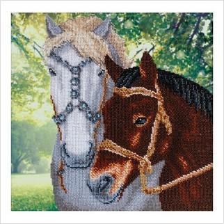 Пара лошадей - Т-1259 - ВДВ - Схема для вышивки бисером - Животные