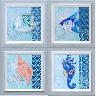 """Ткань с печатью для вышивки бисером """"Морской мир (квадриптих)"""""""