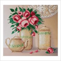 """Ткань с печатью для вышивки бисером ''Розы и фарфор"""""""