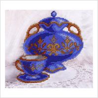 """Ткань с печатью для вышивки бисером ''Синий натюрморт"""""""