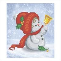 """Ткань с печатью для вышивки бисером """"Снеговик с колокольчиком"""""""