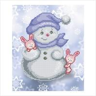 """Ткань с печатью для вышивки бисером """"Снеговик и зайчата"""""""