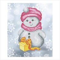 """Ткань с печатью для вышивки бисером """"Снеговик с подарком"""""""