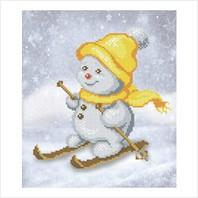 """Ткань с печатью для вышивки бисером """"Снеговик на лыжах"""""""