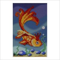 """Ткань с печатью для вышивки бисером """"Золотая рыбка"""""""