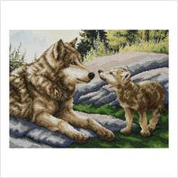 """Ткань с печатью для вышивки бисером ''Волчонок"""""""